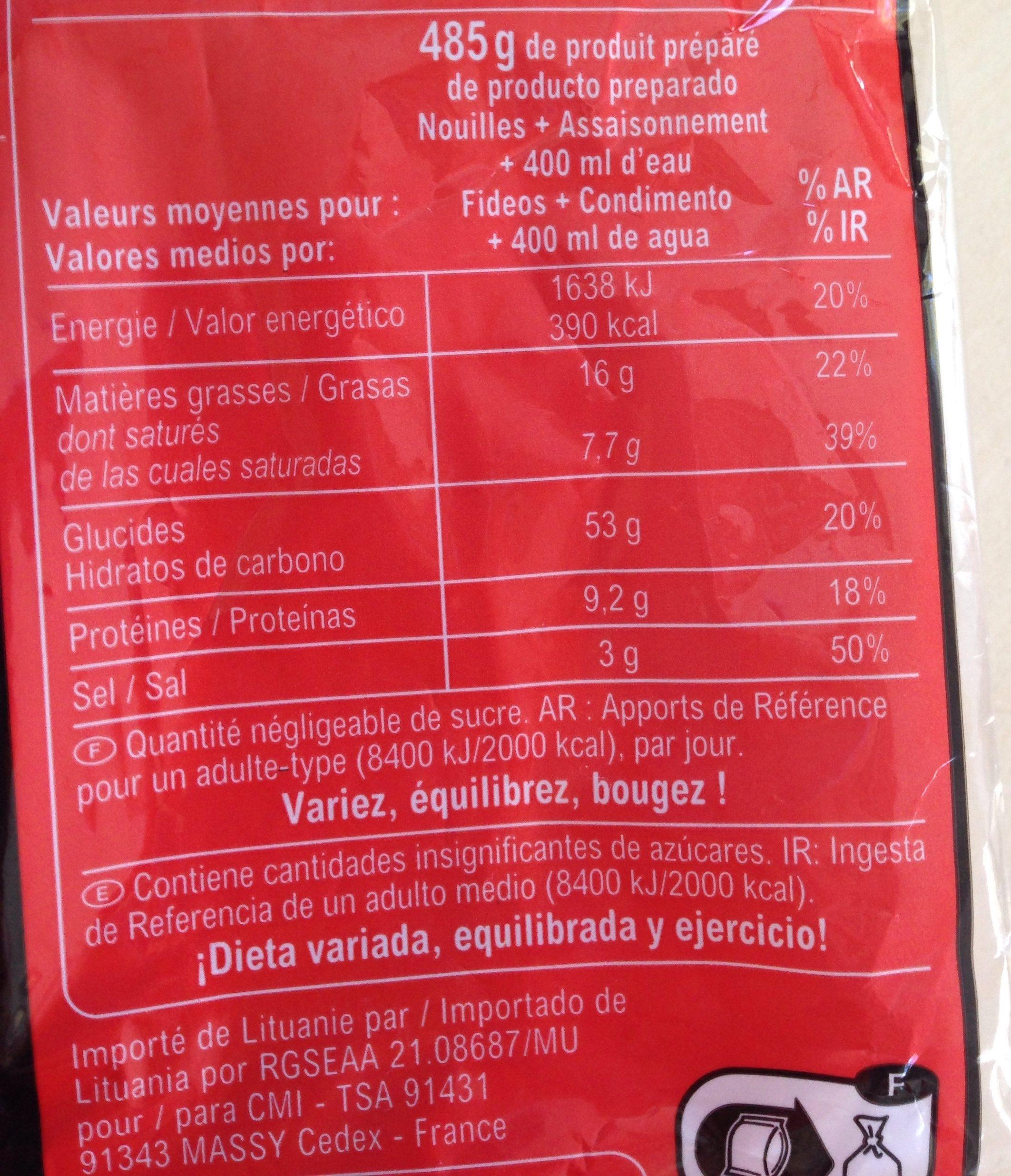 Noodles saveur Légumes - Ingrediënten - fr