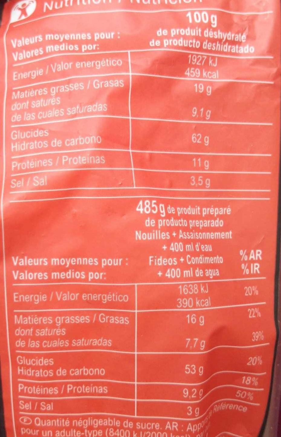 Noodles saveur poulet - Voedingswaarden - fr
