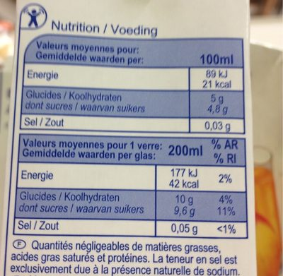 Pomme  nectar - Nutrition facts