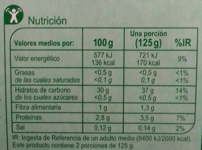 Arroz largo - Informations nutritionnelles
