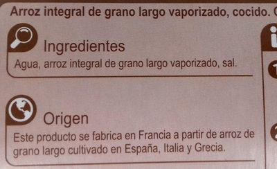 Arroz integral - Ingredientes