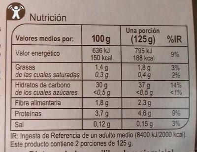 Arroz integral - Información nutricional