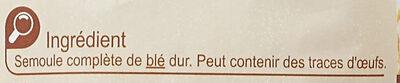 Coquillettes au Blé complet - Ingrédients - fr