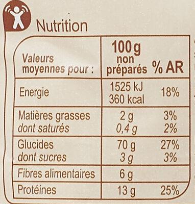 Coquillettes au Blé complet - Valori nutrizionali - fr