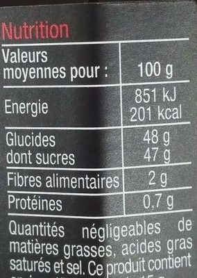 Confiture Cerise Noir Mûre - Informations nutritionnelles - fr