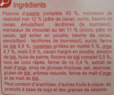 Muesli Floconneux - 2 Chocolats & Noisettes - Ingredientes