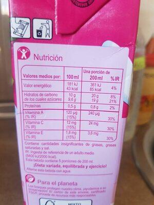 Frutas y leche sabor tropical - Informació nutricional