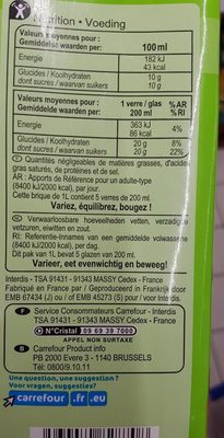Jus de pomme (à base de concentré) - Ingredients