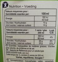 Jus de pomme (à base de concentré) - Informació nutricional - fr