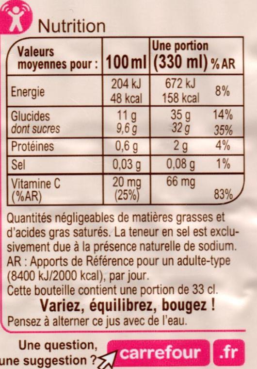 Jus multifruits 100 % purs fruits pressés - Informations nutritionnelles