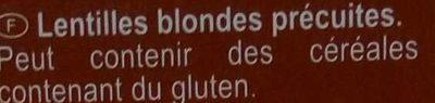 Lentilles blondes Top Chrono' - Ingrédients - fr