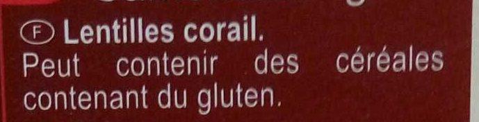 Lentilles Corail Top Chrono - Ingrédients