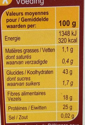Lentilles Corail Top Chrono - Informations nutritionnelles