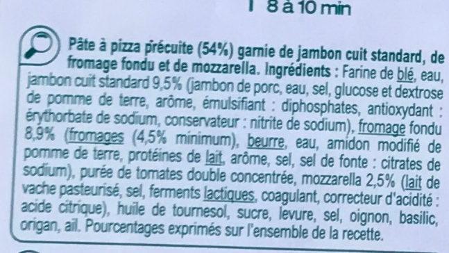 Pizza Jambon Fromage - Ingrédients - fr