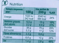 Pizza Jambon Fromage - Informations nutritionnelles - fr