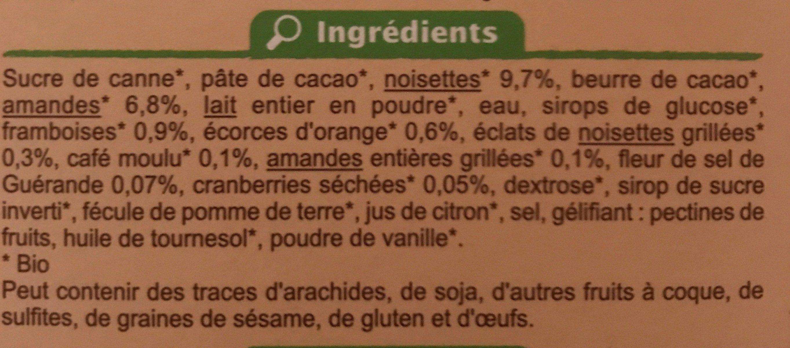 Assortiment de chocolats - Ingrédients
