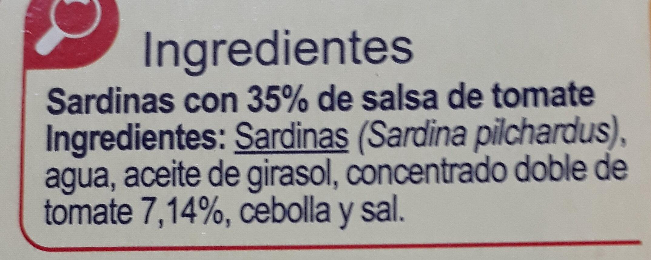 Sardinas en salsa de tomates - Ingredientes - es