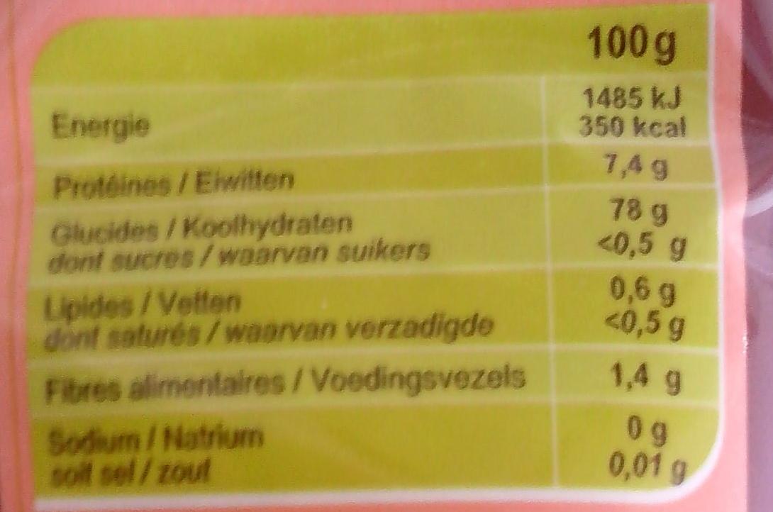 Riz naturellement parfumé - Nutrition facts