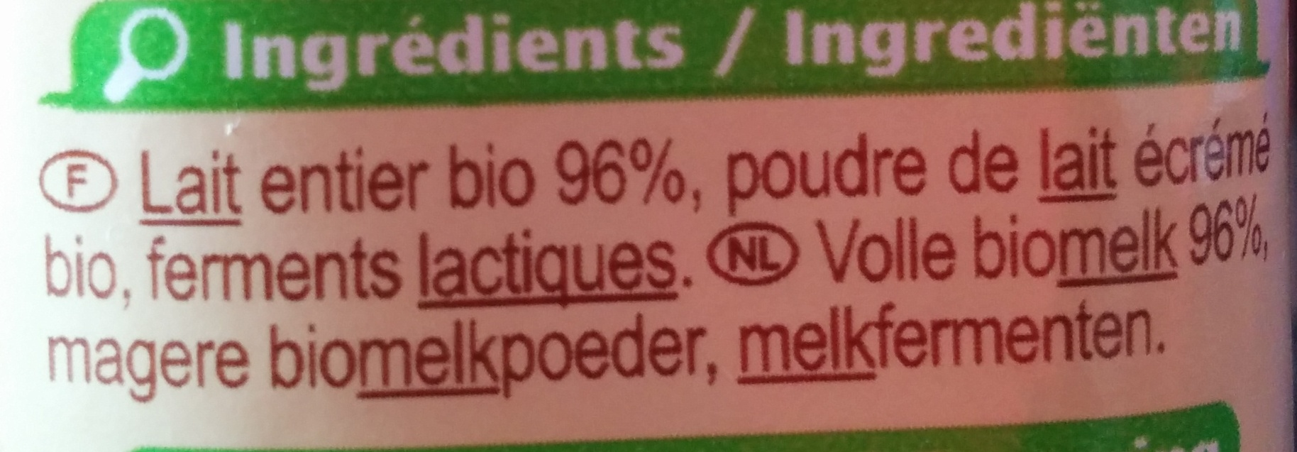 Yaourt au lait entier nature - Ingredients