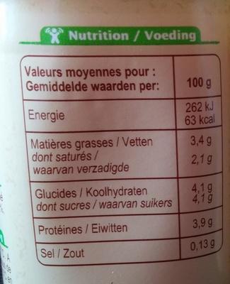 Yaourt au lait entier nature - Пищевая и энергетическая ценность - fr