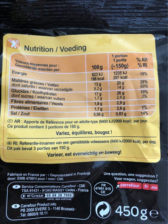 Écrasé de pommes de terre à la Truffe brumale 1% - Voedingswaarden - fr