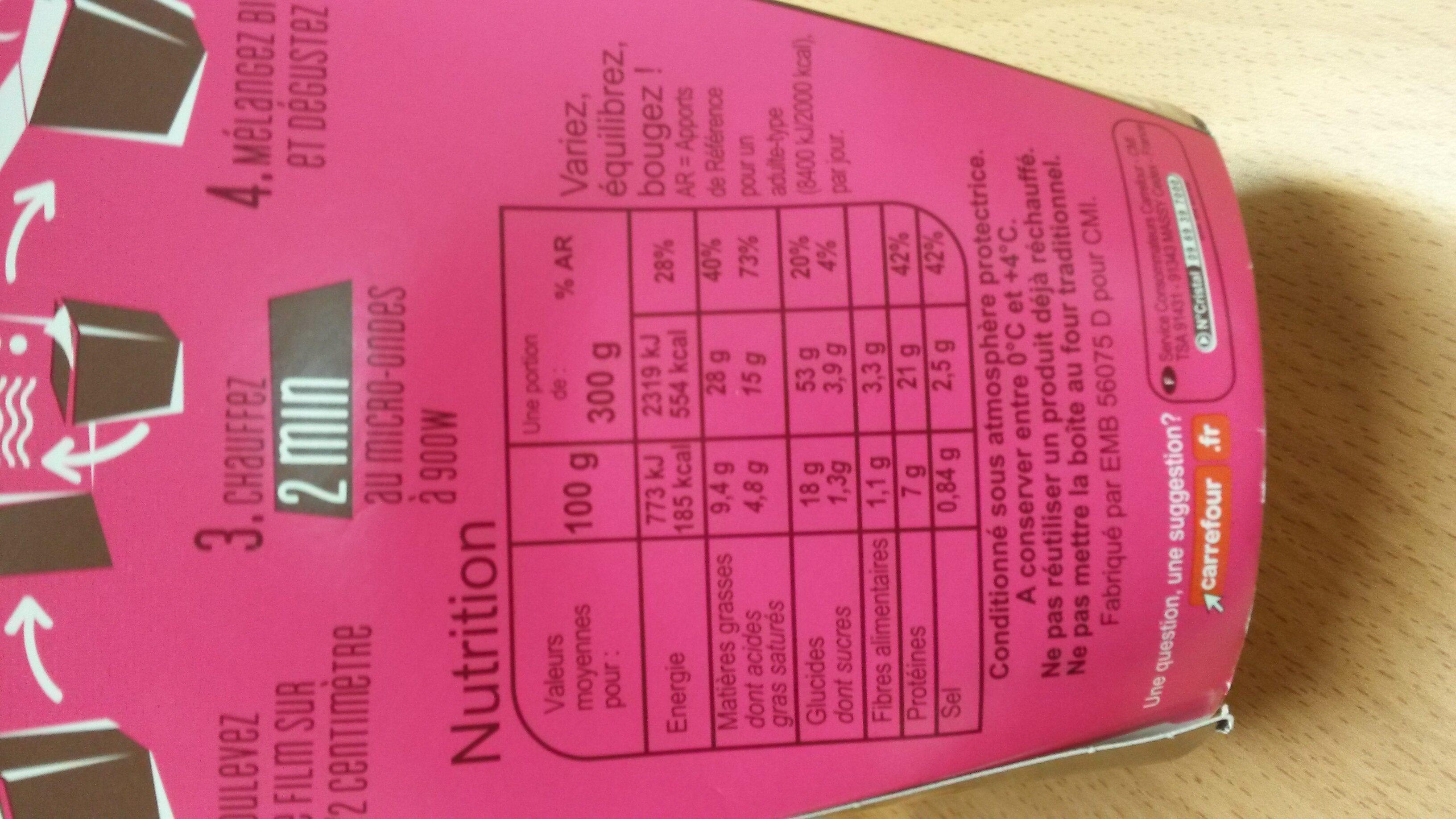 Festonate carbonara - Nutrition facts - fr