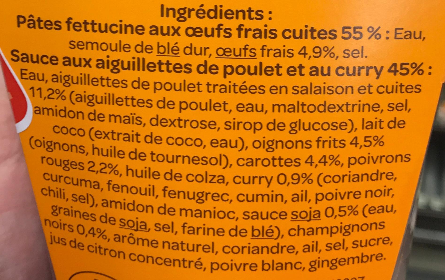 Nouilles légumes poulet curry vert - Ingrédients - fr