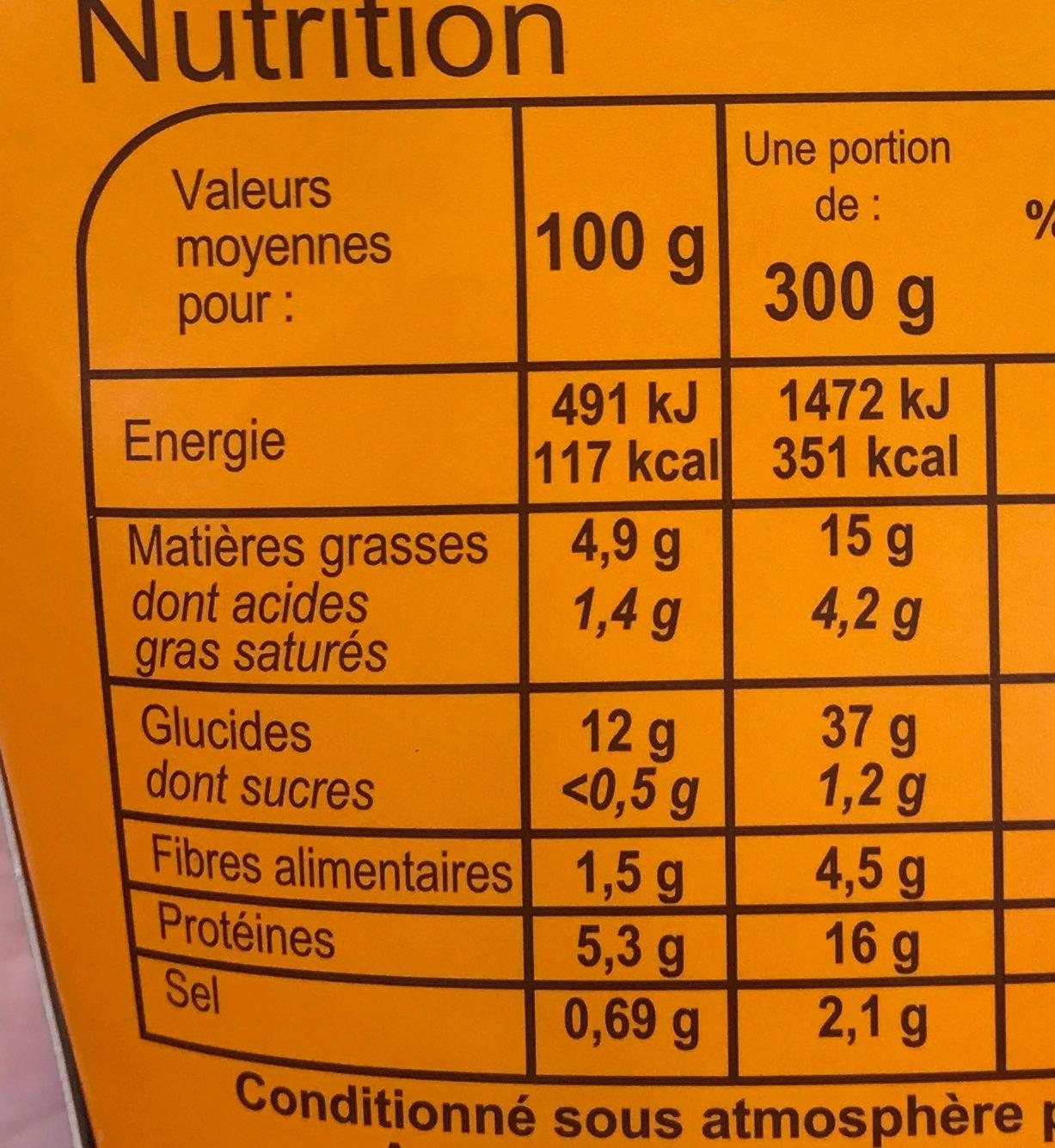 Nouilles légumes poulet curry vert - Informations nutritionnelles - fr