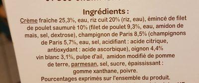 Risotto poulet champignons - Ingrédients - fr