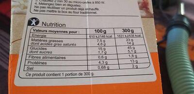 Risotto poulet champignons - Informations nutritionnelles - fr