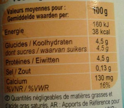 Yaourt nature 0% - Nutrition facts - fr