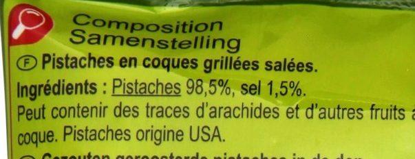Pistaches grillées salées - Ingrédients - fr