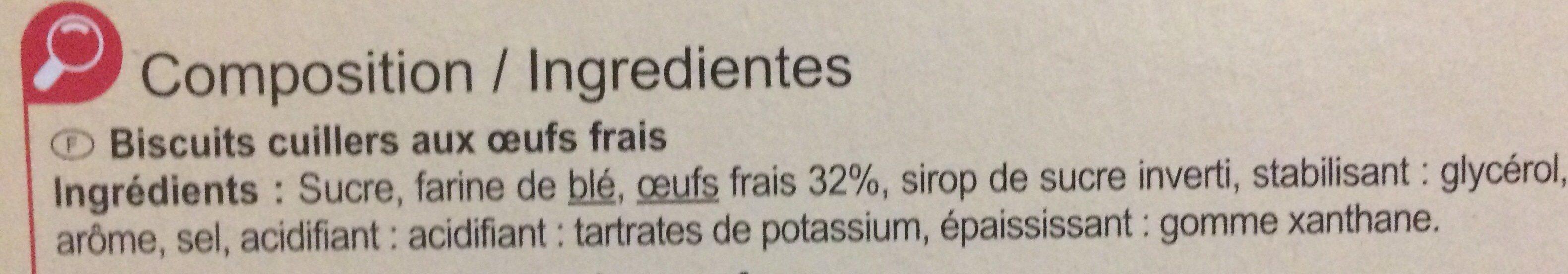 Cuillers pâtissiers - Ingredientes - fr