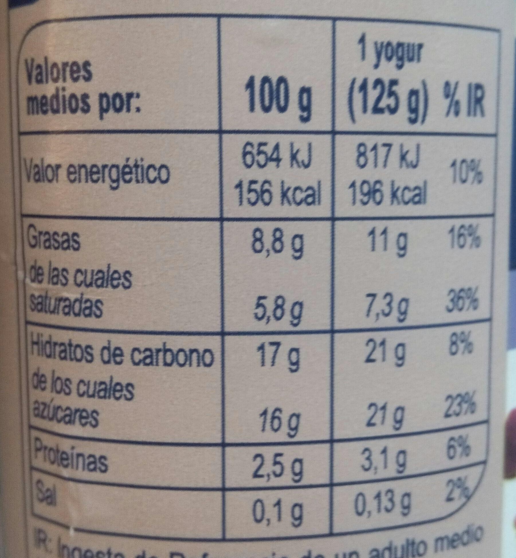 Yogur estilo griego Stracciatella - Voedingswaarden - es
