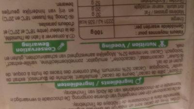 Chocolat Pâtissier - Voedigswaarden