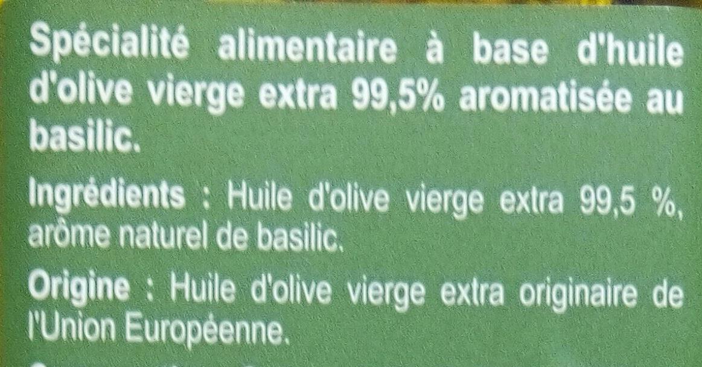 Spécialité Huile d'olive aromatisée au basilic - Ingredients