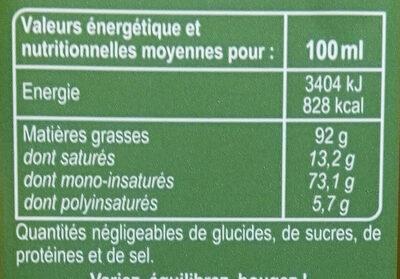 Spécialité Huile d'olive aromatisée au basilic - Nutrition facts