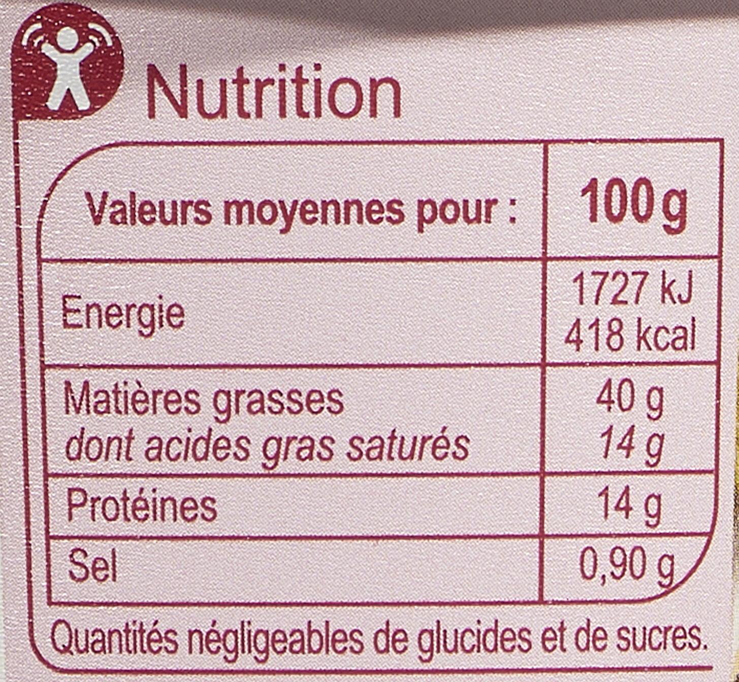 Rillettes du Mans -25% de sel - Voedingswaarden - fr