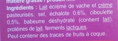 Fromage à tartiner Echalote & ciboulette - Ingredients - fr