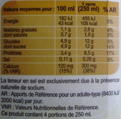 Lait fermentéLeben - Informations nutritionnelles