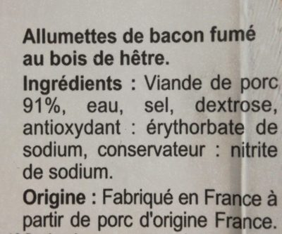 Allumettes de Bacon Fumé - Ingredients