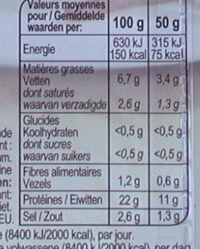 Allumettes de Bacon Fumé - Nutrition facts