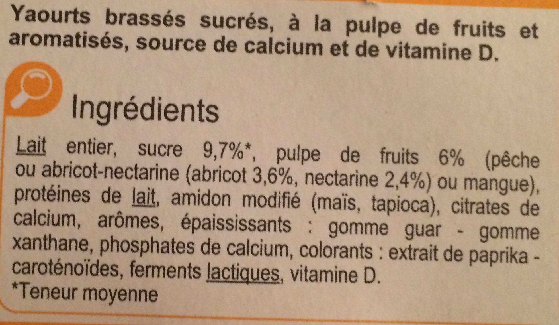 Yaourt fruits mixés, fruits jaunes - Ingrediënten