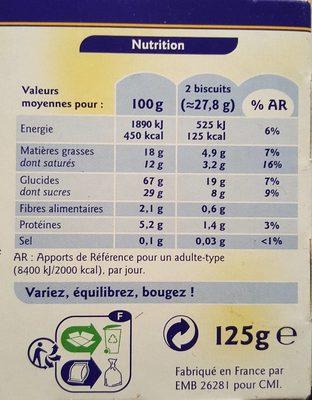 Tartelettes Citron - Informations nutritionnelles - fr