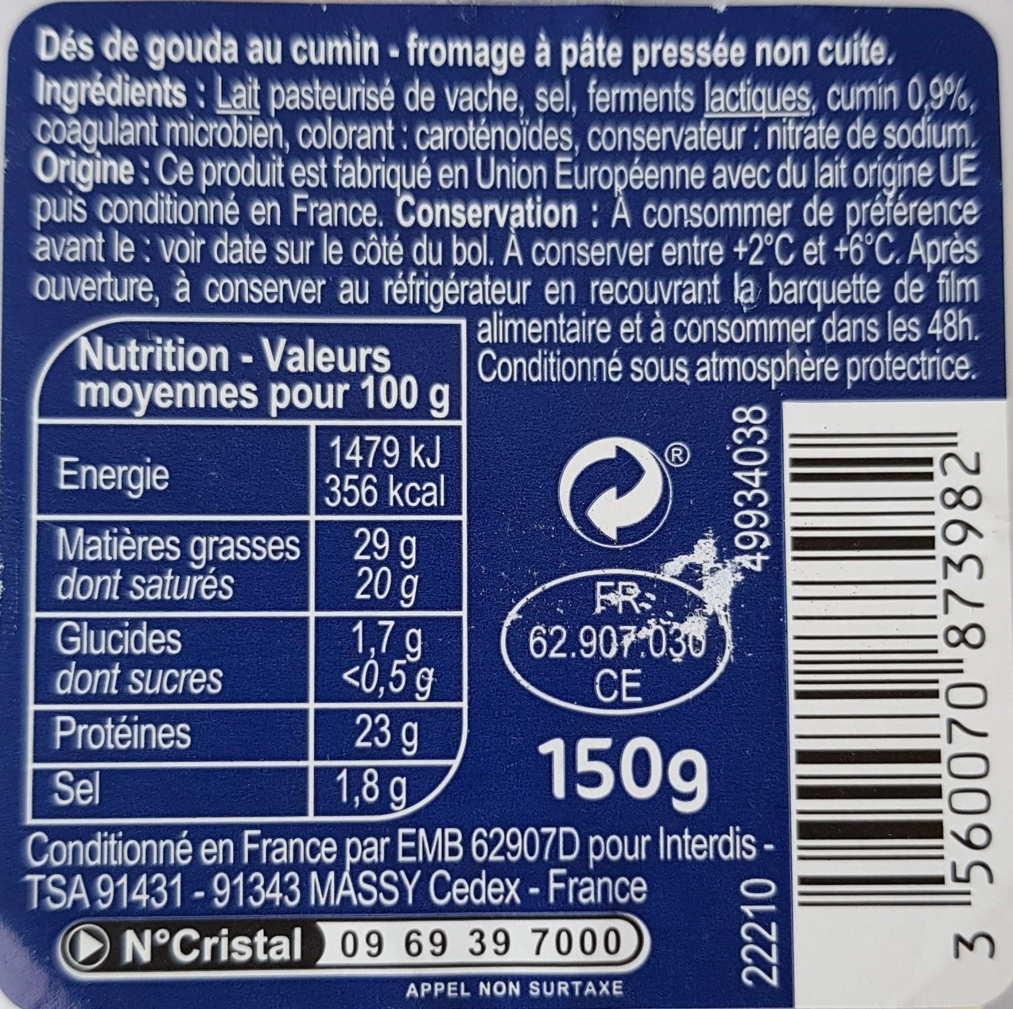 Dés de gouda au cumin (30 % M.G.) - Ingrediënten - fr