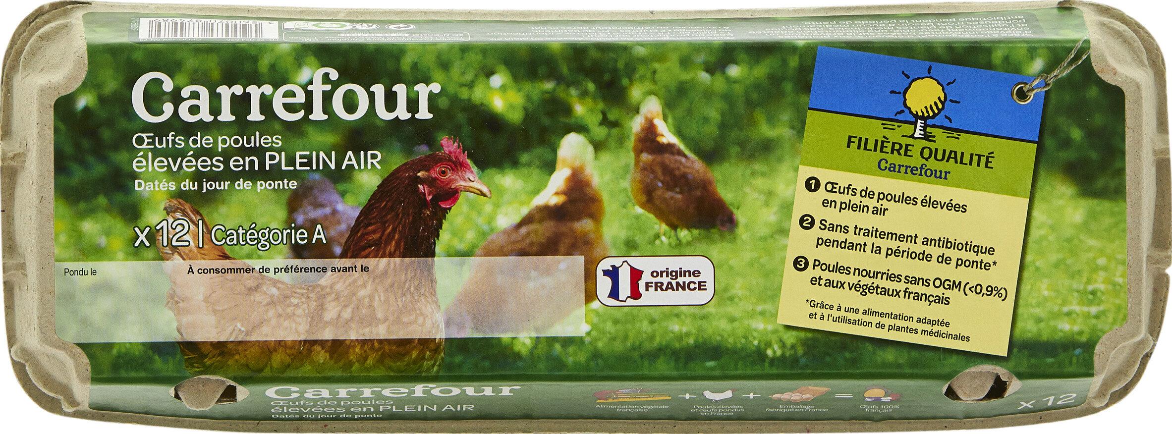 12 oeufs de poules élevées en plein air - Produit - fr