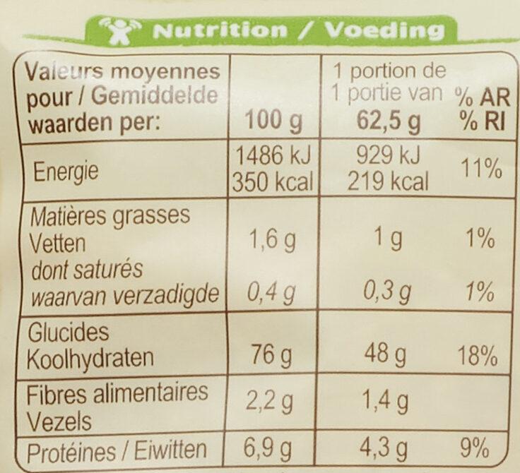 Riz de Camargue semi-complet - Informations nutritionnelles - fr