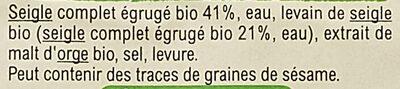 Vollkornbrot - Ingrédients - fr