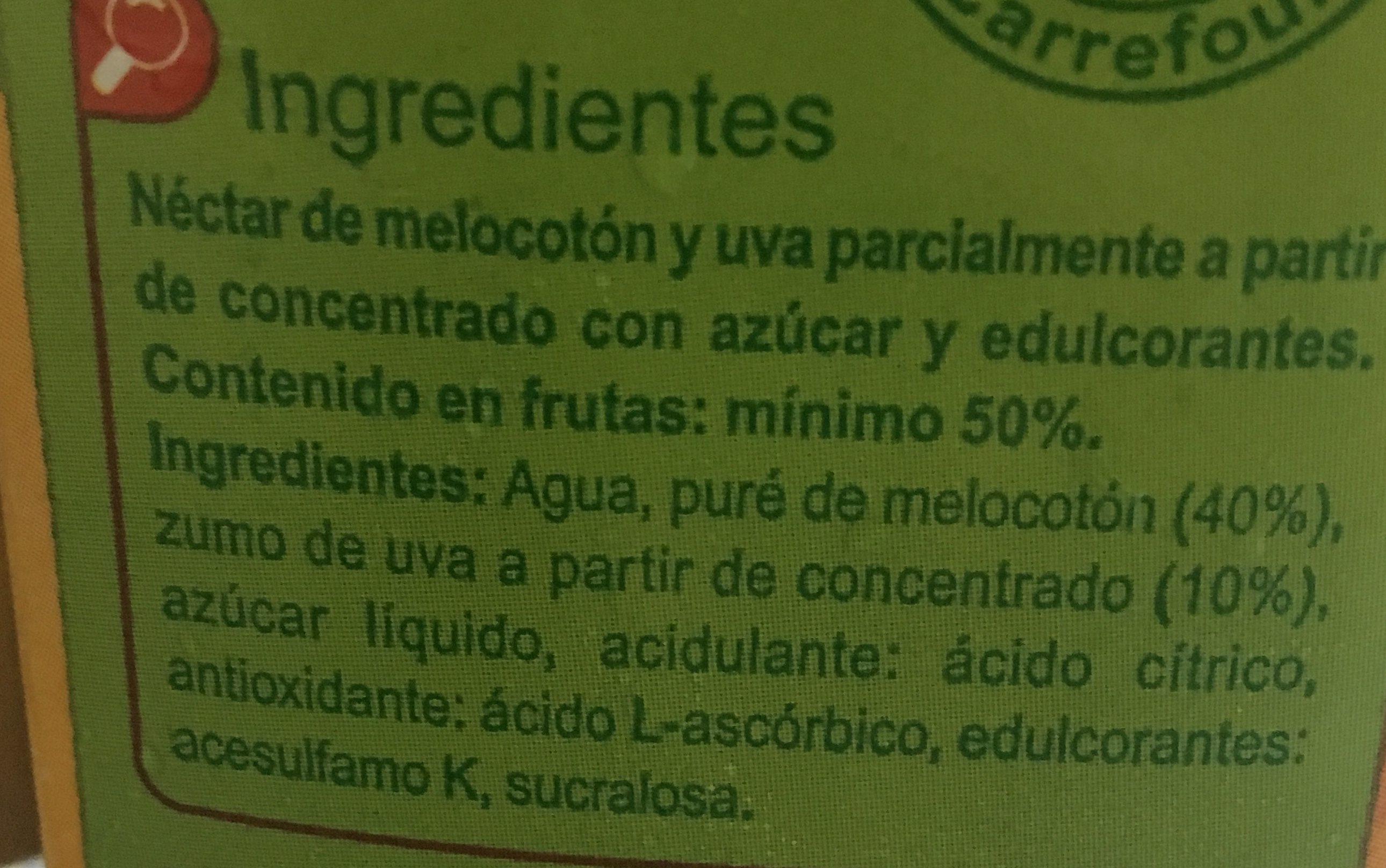 Néctar melocotón uva - Ingrédients - fr