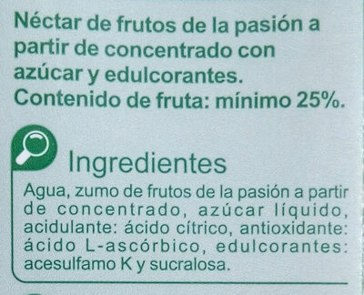 NéctarFrutos de la Pasión - Ingredients